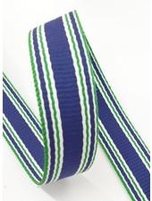 blauw met groene streep tassenband  - 30 mm