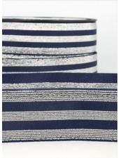 marinblauw zilver gestreept - deluxe - taille elastiek 40 mm