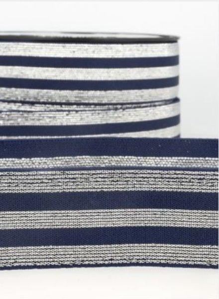M marineblauw zilver gestreept - deluxe - taille elastiek 40 mm