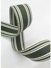 groen met kaki streep  tassenband -  30 mm