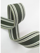 khaki striped bag strap - 30 mm