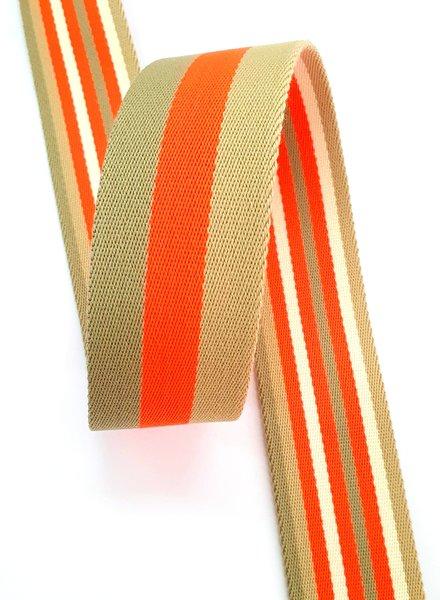 fluo oranje gestreept 40 mm  - dubbelzijdige tassenband