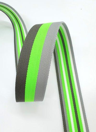 fluo groen gestreept 40 mm  - dubbelzijdige tassenband