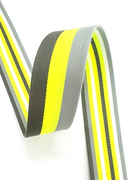 fluo geel gestreept 40 mm  - dubbelzijdige tassenband
