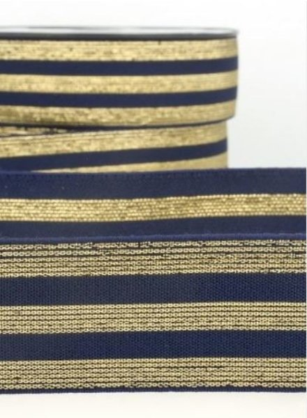 gold and navy blue striped - deluxe - elastic 40 mm