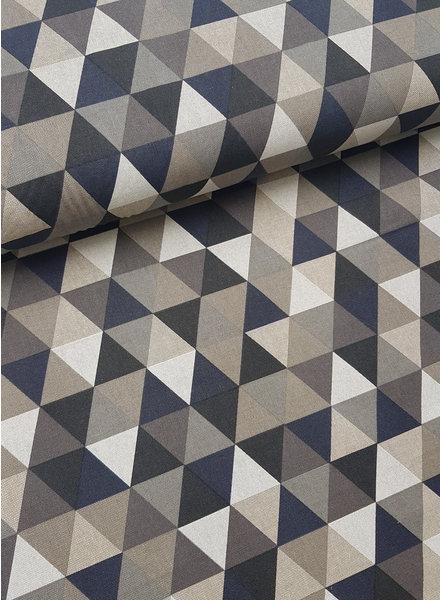 driehoeken grijs - linnen look canvas