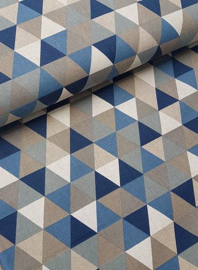 driehoeken blauw - linnen look canvas