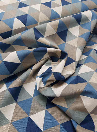 triangle blue - linen look canvas