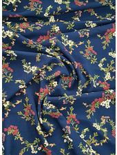 navy flowers - viscose