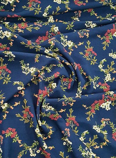 navy flowers - viscose