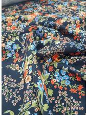 black flowers - viscose twill