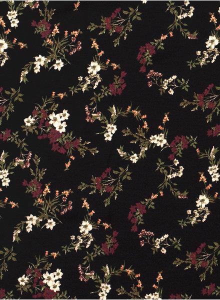 black flowers - viscose