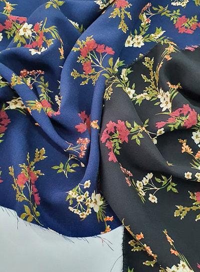 zwart bloemetjes - viscose