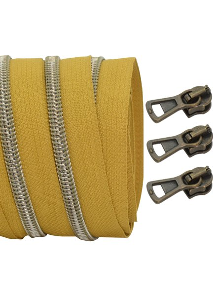 coil zipper mustard - shiny anti-brass 100cm including 3 sliders