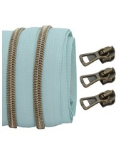 coil zipper light mint - shiny anti-brass 100cm including 3 sliders