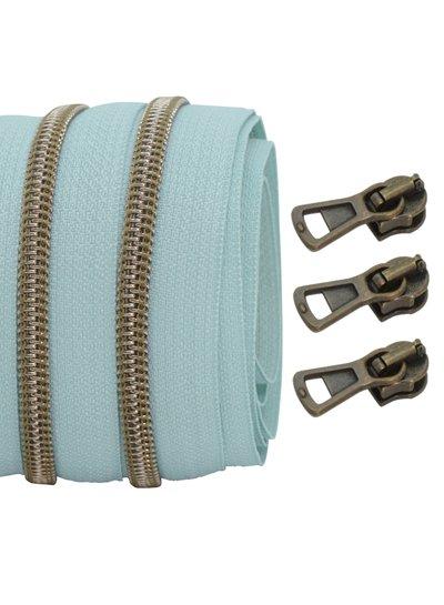 coil zipper light mint - shiny anti-brass 100cm including 3 sliders