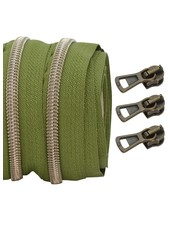 coil zipper khaki - shiny anti-brass 100cm including 3 sliders