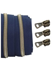 coil zipper dark blue - shiny anti-brass 100cm including 3 sliders