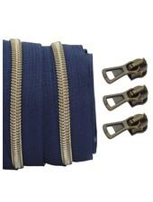 spiraalrits donkerblauw - shiny brons 100 cm inclusief 3 schuivers