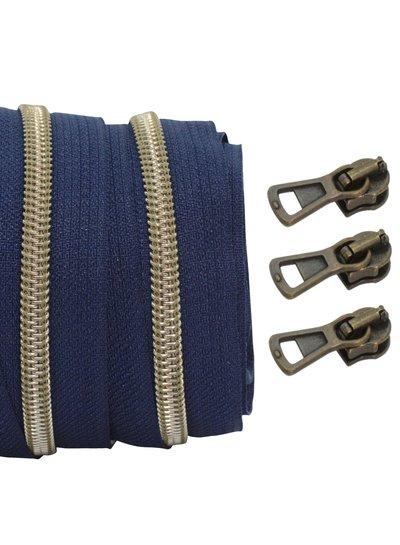 coil zipper dark blue - shiny anti-brass 100cm including 3 sliders