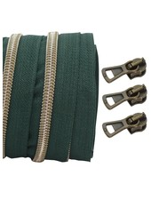 coil zipper dark green - shiny anti-brass 100cm including 3 sliders