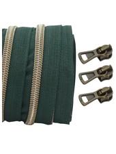 spiraalrits donkergroen - shiny brons 100 cm inclusief 3 schuivers