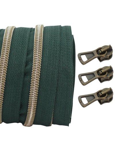 coil zipper dark green - shiny anti-brass 100cm including 3 sliders