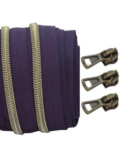 coil zipper aubergine - shiny anti-brass 100cm including 3 sliders