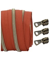 coil zipper rust - shiny anti-brass 100cm including 3 sliders