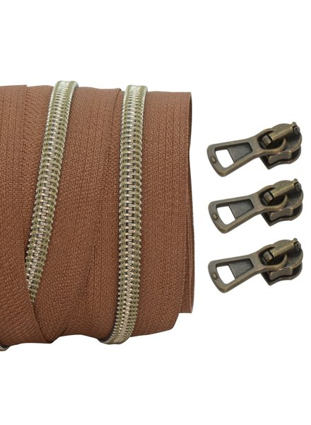 coil zipper light brown - shiny anti-brass 100cm including 3 sliders