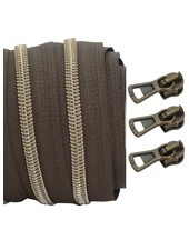 coil zipper dark brown - shiny anti-brass 100cm including 3 sliders