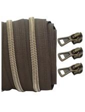 spiraalrits donkerbruin - shiny brons 100 cm inclusief 3 schuivers