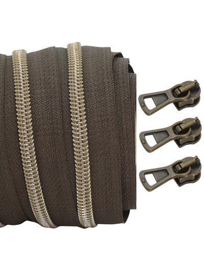 coil zipper dark brown - shiny anti-brass 100cm including 3 sliders