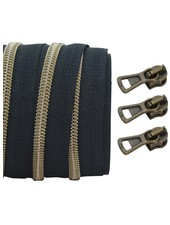 coil zipper black - shiny anti-brass 100cm including 3 sliders