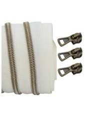 spiraalrits ivoor - shiny brons 100 cm inclusief 3 schuivers
