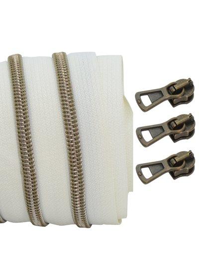 coil zipper ivory - shiny anti-brass 100cm including 3 sliders