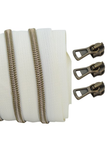 coil zipper ivory - shiny anti-brass 100cm including 3 sliders