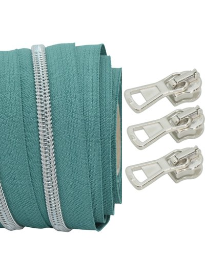 coil zipper smaragd - matt silver 100cm including 3 sliders
