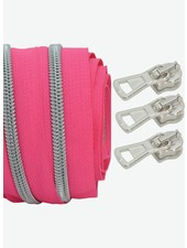 coil zipper bright fuchsia - matt silver 100cm including 3 sliders