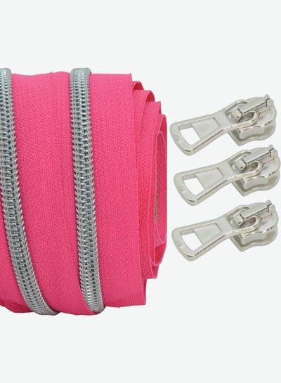coil zipper bright fuchsia - matt silver 100cm including 3 sliders