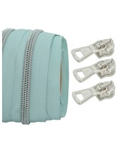 coil zipper light mint - matt silver 100cm including 3 sliders