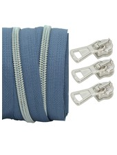 coil zipper silverblue - matt silver 100cm including 3 sliders