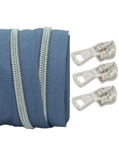 coil zipper silverblue - matt silver 100cm including 3 sliders