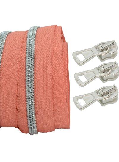 coil zipper coral - matt silver 100cm including 3 sliders