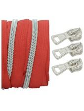 coil zipper red - matt silver 100cm including 3 sliders