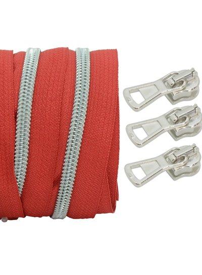spiraalrits rood - mat zilver 100 cm inclusief 3 schuivers