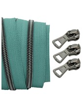 coil zipper teal - black nickel 100cm including 3 sliders