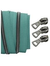 spiraalrits teal - zwart nikkel 100 cm inclusief 3 schuivers