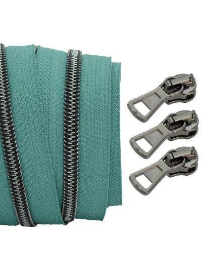 coil zipper teal - black nickel 100cm including 3 sliders