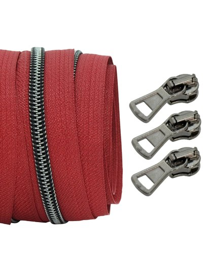 coil zipper wine red - black nickel 100cm including 3 sliders